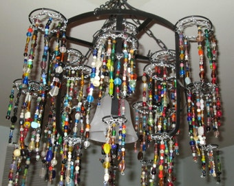 Chandelier made with glass beads