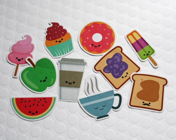 Adorable Food Stickers Kawaii Food Cute by FunUsualSuspects