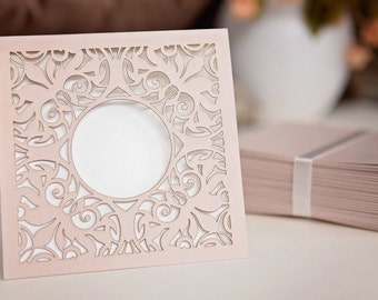 Creamy pink 25 piece set of wedding invitations