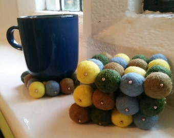 Felt Ball Coasters.Mug Coasters. Gift set
