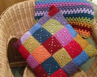 Crochet patchwork cushion cover.