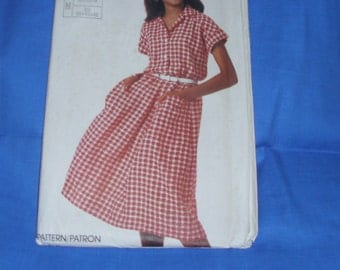 Simplicity 7334 / Size 10-14 / Super Saver / Vintage Misses / Easy-To-Sew / Cap Sleeves Dress / Uncut Factory Fold Pattern From 1986