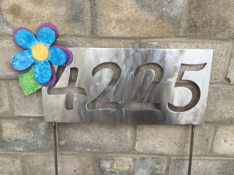 Custom Address Sign Metal Garden Art Yard Sign flower