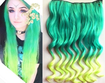 Green to Light Green Two Colors Ombre Hair Extension, Synthetic Hair Extensions UF380