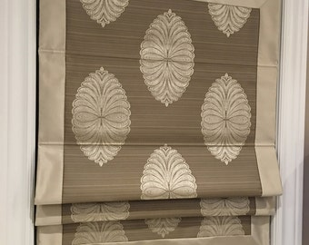 "Flat Roman Shade ""Medallion Sand"" with border and chain mechanism, Custom made"