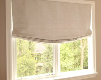 "Relaxed Roman Shade ""Beige linen"" with chain mechanism, Linen Roman Shades, Window Treatments, Ready to made"