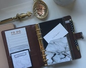 Black and Marble Planner Pocket in Pocket, Personal, A5 or Half Letter