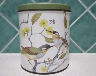 Vintage Willow Canister/Tin - Birds - 1960's