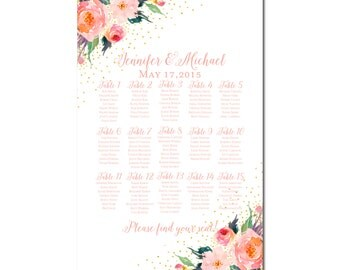 Wedding Seating Chart, Floral Wedding, Watercolor Floral, Printable Seating Chart, Seating Plan, Table Chart, Printable Seating Sign #CL135