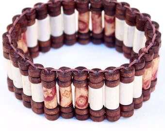 African Cylinder-Shaped Wooden Bracelets