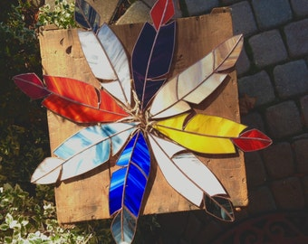 Large Handmade Stained Glass Feather