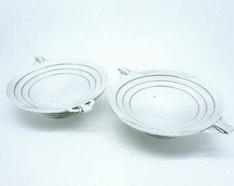 Art Deco Sterling Silver Dishes, Pair, Scottish, Hallmarked Edinburgh 1936, Scotland, Hamilton & Inches, REF:295S