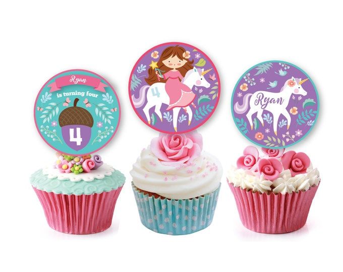 Unicorn Princess Cupcake Toppers, Cupcake Wrappers and Straw Wraps, Customized Printable DIY, unicorn and princess in garden