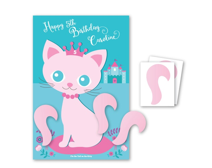 Pin the Tail on the Kitty / Cat- party game - DIY party game - party game for girls - cat game