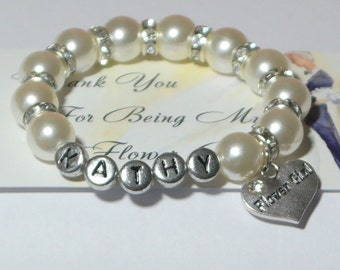 personalized flower girl bracelet - flower girl gift - bridal party gifts - will you be my flower girl - wedding gift - flowergirl gifts