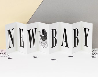 New Baby Card; 'Congratulations New Baby'; Black and White Concertina Card; Baby Keepsake Card; Baby Card; Baby Banner Card; CC001