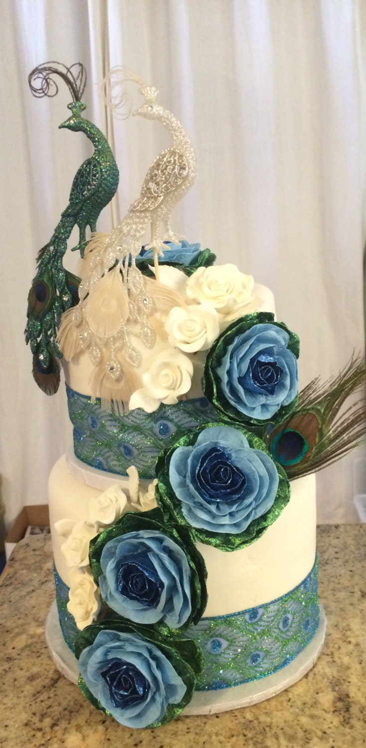 10 Peacock Wedding Cake Topper Paper Flowers Teal Royal Navy