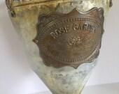 Vintage Rose Garden Tin Flower Hanging Vase, Bouquet Vase, Vintage Flower Vase, Handmade