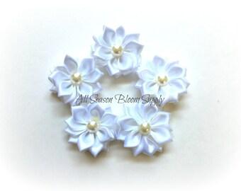 """White - Mini Multilayer Satin Flowers -Satin Ribbon Flower - 1.5"""" - rosette - Flower with Bead"""