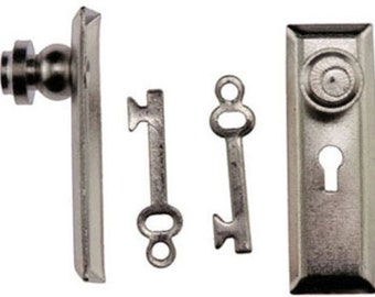 DOLLHOUSE MINIATURE 1:12 SCALE Nickel Door Knob With Key Plate Set #CL05524