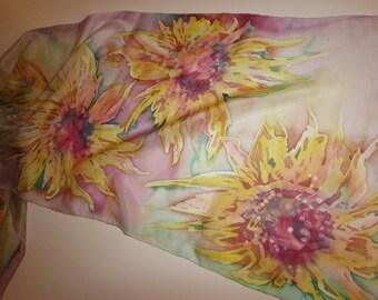 Hand painted 100% silk long scarf. 18 x 55 inc. Батик шарф . Натуральный шелк 45 х 140 см