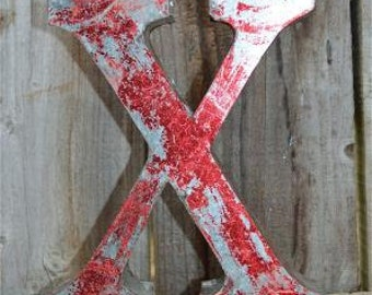 Medium vintage style 3D red letter X