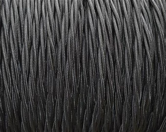1 meter black twisted silk covered 3 core light flex B15
