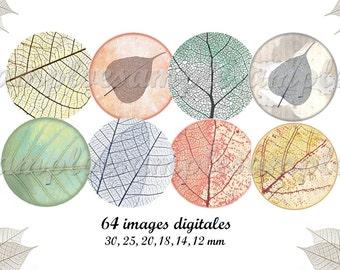 "Digital Collage Sheet, Circles, Bottle Caps, 1"" Sized ,  digital images leaf automn Instant Download"