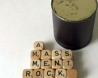 Scrabble Crossword Cubes with Shaker Cup – Vintage Letter Dice – Crafts – Game – Square Wood Pieces – Upcycle - Repurpose