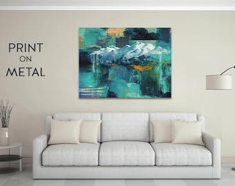 Metal wall art, mountain art, aluminum art print, metal art, colorful artwork livingroom decor art on metal 16x20, 24x36 mountain painting