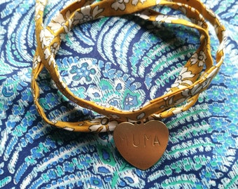 Liberty bracelets with personalised hand stamped disc