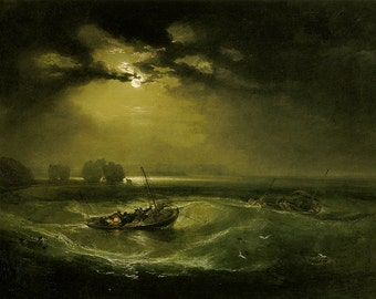 William Turner: Fishermen at Sea. Fine Art Print/Poster (00566)