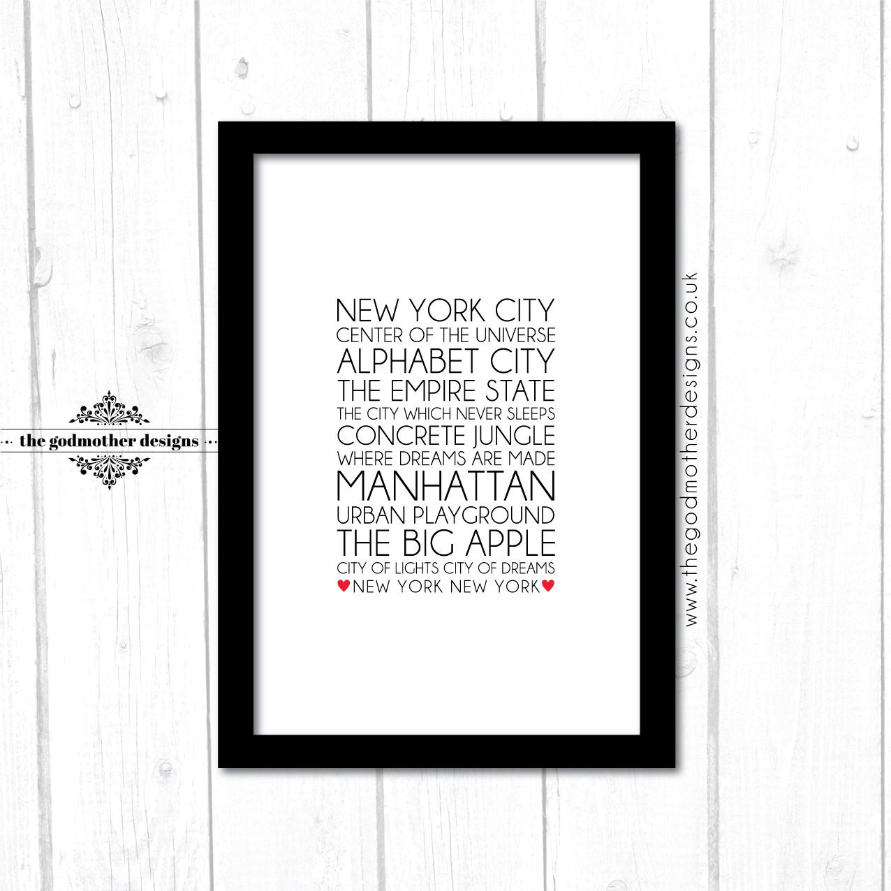 nicknames of new york typography typography print. Black Bedroom Furniture Sets. Home Design Ideas