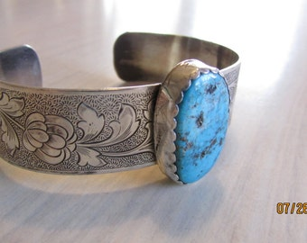 Sterling Silver and Turquoise Cuff Bracelet