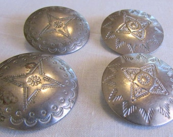 """Four Silvertone 1 1/8"""" Stamped Buttons"""