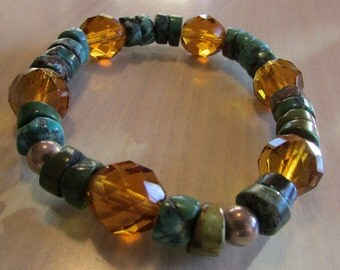 Turquoise and Faceted Amber Color Bead Stretch Bracelet