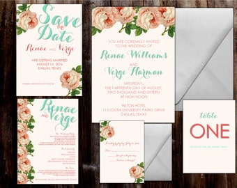 Vintage DIY Printable Wedding Invitation Suite. Includes save the date, insert cards, program and more