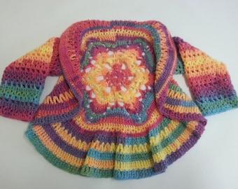 Mandala Cardigan Jacket to fit 1 to 2 year old, Rainbow,