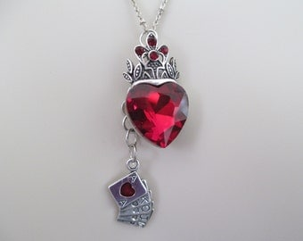 Queen Of Hearts Necklace, Alice In Wonderland Necklace, Through The Looking Glass Necklace, Red Hearts Necklace