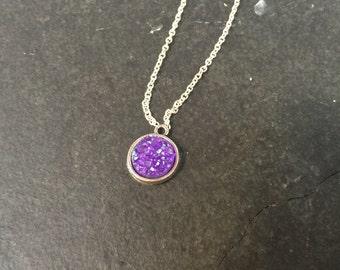 simple druzy | necklace silver