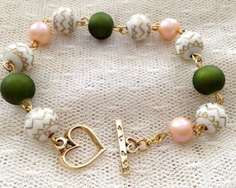 Green and Peach Heart Bracelet
