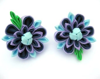 Set of 2 Girls flower hair clip Blue Lilac kanzashi flower clip Handmade bobby pin Toddler flower bows Small hair clips Ponytail holder Gift