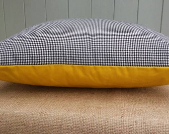 Black and White houndstooth, dogtooth check and bright yellow. zipped. throw pillow cover, cushion cover