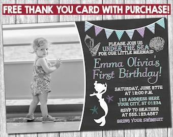 Mermaid Birthday Invitation - Under the Sea Invitations