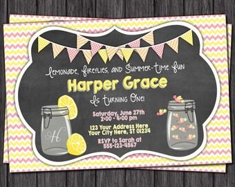 Pink Lemonade Birthday Invitation - Fireflies Birthday Invitations - Summer, Mason Jar, Chalkboard
