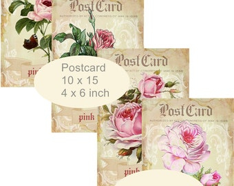 4 x Postcards pink roses - shabby background Title Postcard Instant DOWNLOAD