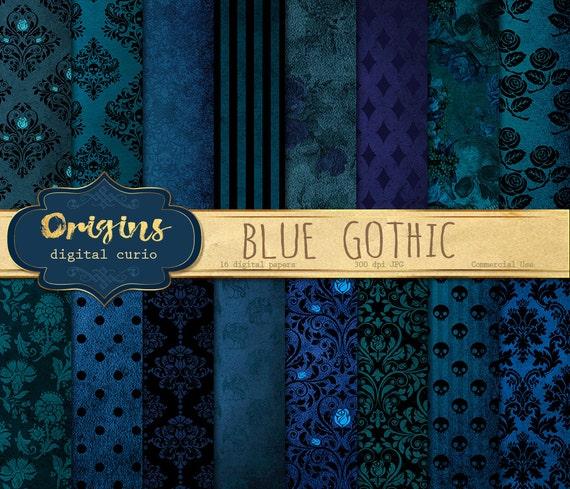 Blue Gothic digital paper skull damask Halloween scrapbook