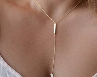 Gold Lariat Necklace, Gold Y Necklace, Triangle Y Necklace, Long Layering Necklace FREE SHIPPING!