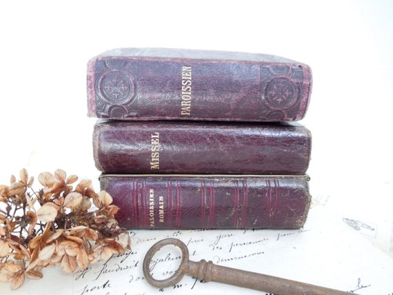 1867 set of 3 antique catholic missel romain prayer religious - Decoration romaine antique ...