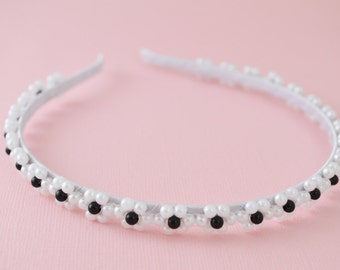 Beautiful White and Black Floral Beaded Headband with White and Black Beads